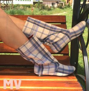 Фото Обувь Украина - производство 3-7 дней, Сапожки, ботиночки тканевые САПОЖКИ ТКАНЕВЫЕ КЛЕТКА АРТ С1-194