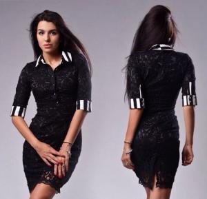 Фото Платья, Офисные платья Женское черное строгое платье