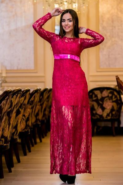 Длинное ажурное платье 4378