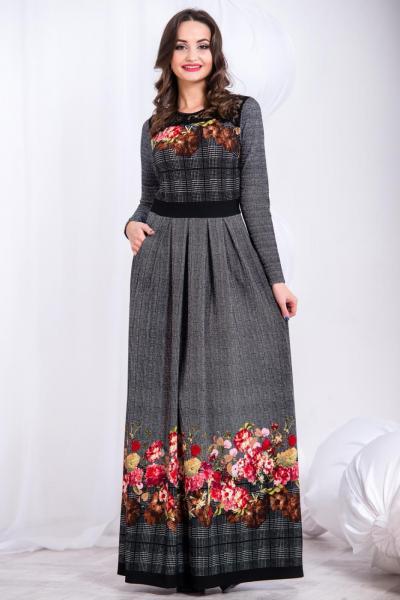 Длинное теплое платье 5295
