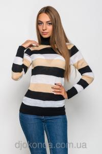 Фото Кардиганы и кофты женские Стильный свитер Aldi в полоску (черный/беж/белый)