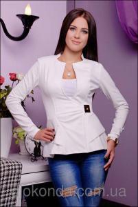 Фото Пиджаки, жакеты женские Женский пиджак с дизайнерским вырезом горловины
