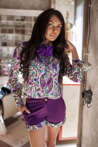 Стильная женская блузка с шарфом 01258 Аф $