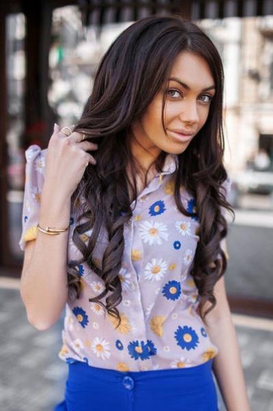 Стильная женская рубашка в цветочек Рубашка 01259 Аф $