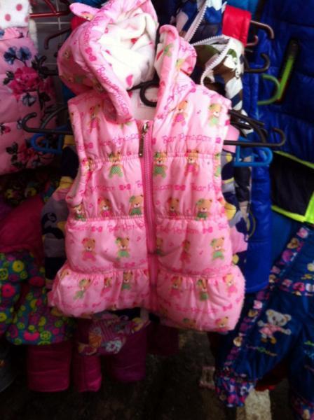 Жилет деми розовая с ушками, на девочку 1-3 года