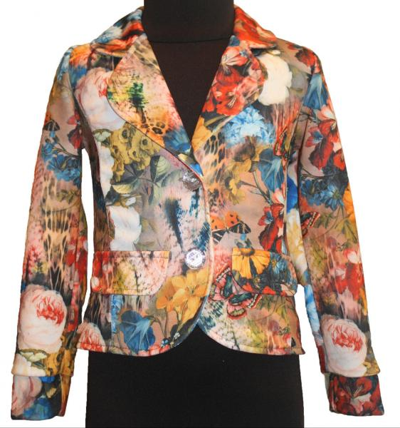 Пиджаки для девочек с цветочным принтом с бантиком