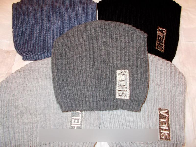Вязаная шапка-конверт на флисе(уточняйте наличие)