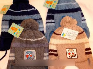 Фото Шапки детские, Шапки на мальчика Вязаная шапка-ушанка, полушерсть, на флисе, до 4 лет