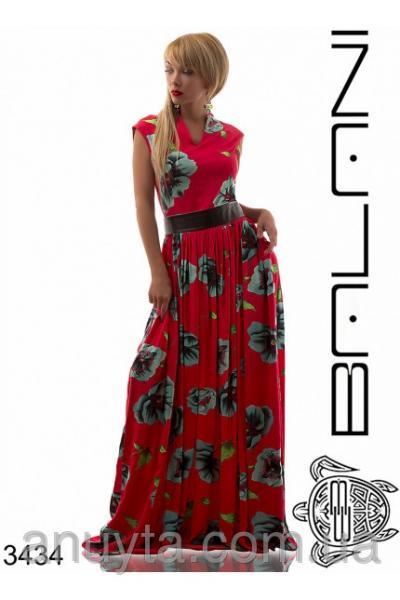 Женское платье в пол маки на красном фоне штапель (батал) оптом