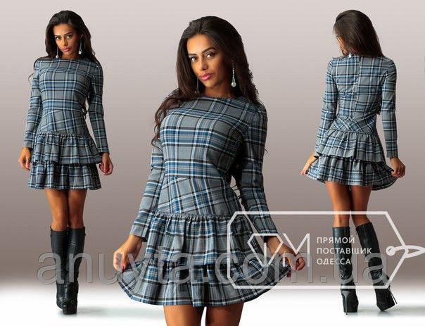 Женское платье мини 2 оборки клетка костюмка серое оптом