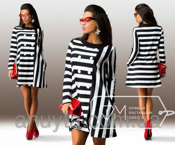 Женское платье мини пуговицы чёрная полоска трикотаж оптом