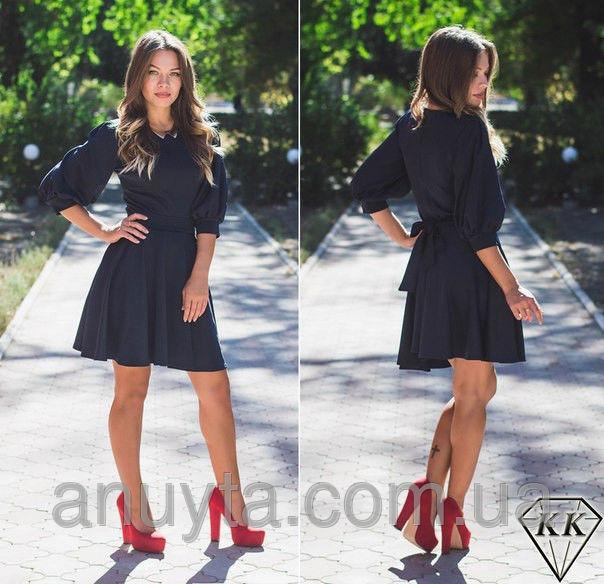 Женское платье мини фонари клёш дайвинг черное оптом
