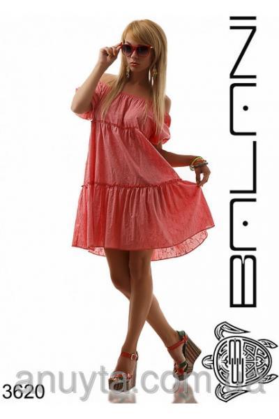 Женское платье мини колокольчик прошва хлопок коралл оптом