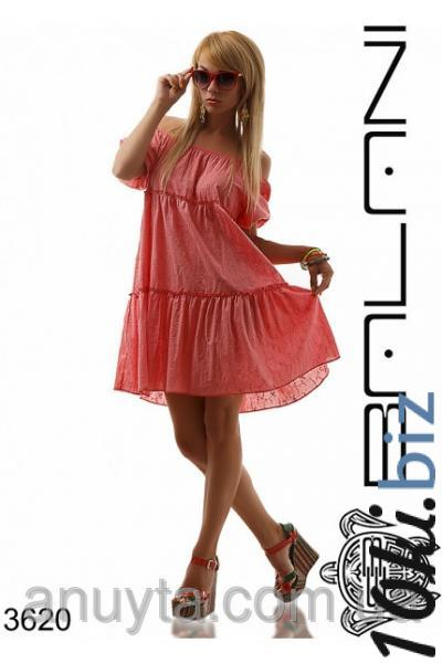 Женское платье мини колокольчик прошва хлопок коралл оптом - Короткие платья, мини платья в магазине Одессы