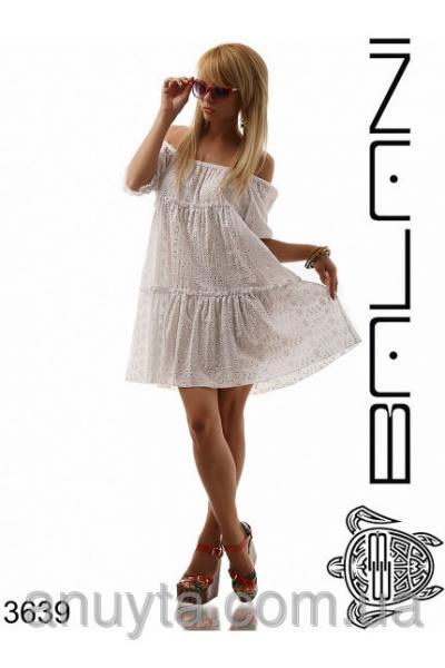Женское платье мини колокольчик прошва хлопок белое оптом