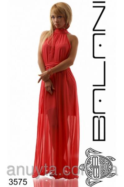 Женское платье в пол рюшечки по горловине шифон коралл оптом