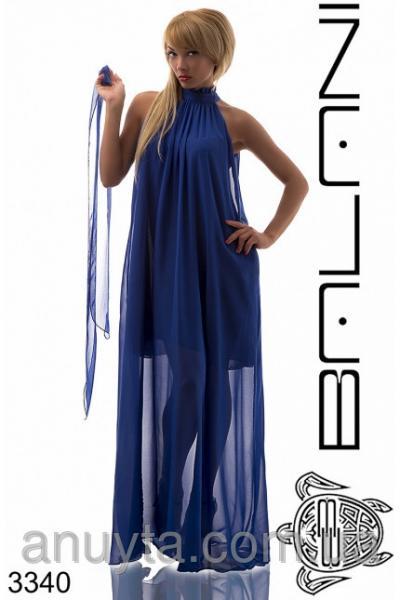 Женское платье в пол рюшечки по горловине шифон электрик оптом