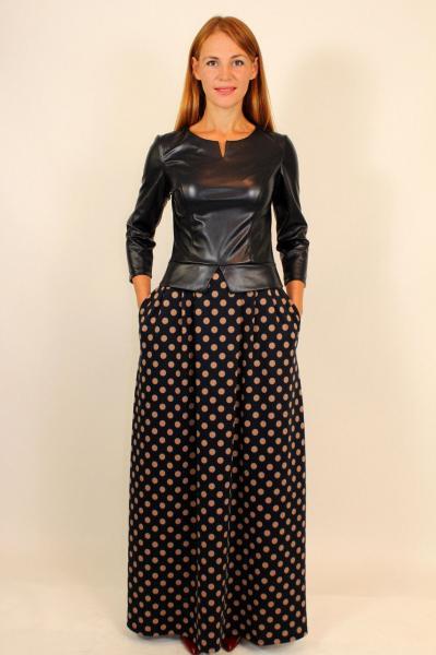 Молодежное длинное платье с кожаным верхом 42-48 р