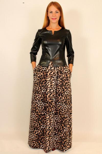 Платье в пол с кожаной курткой 42-48 р ( леопард )