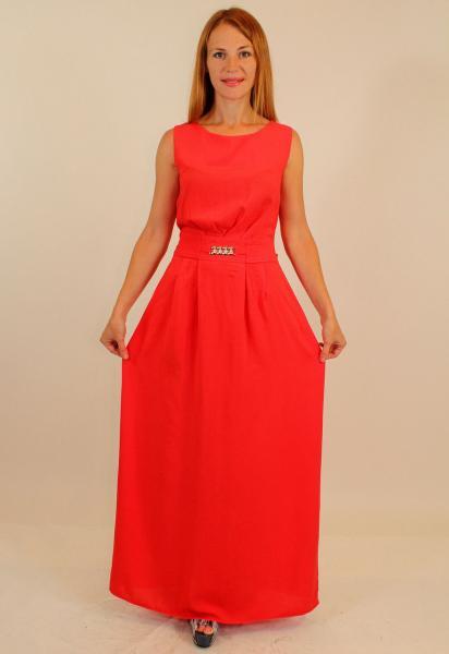 Длинное летнее платье-сарафан из штапеля ( красный, электрик, темно-синий, персик, бирюза, голубой ) 44-50 р