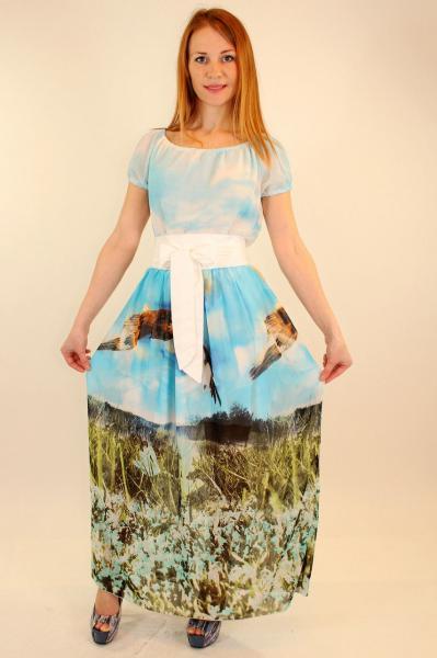 Длинное шифоновое платье с широким поясом 42-48 р ( разные цвета )