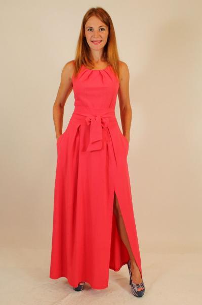 Вечернее длинное платье с разрезом на ноге 44-50 р ( бирюза, электрик, темно-синий, коралл )
