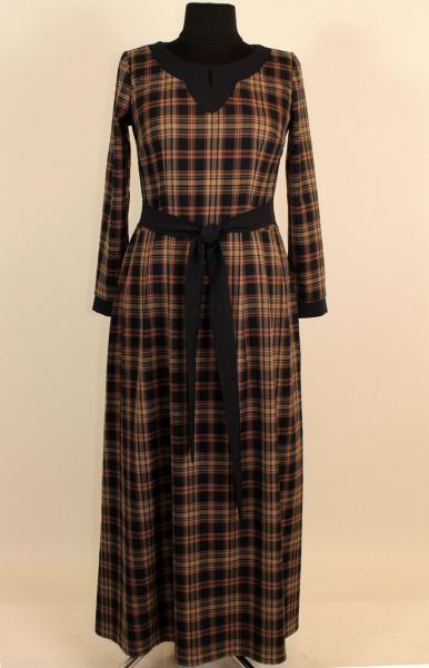 Платье в клетку с длинным рукавом 52-58 р ( разные цвета )