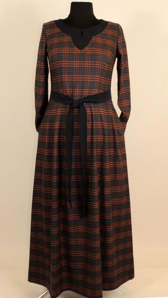 Клетчатое длинное платье в пол 52-58 р