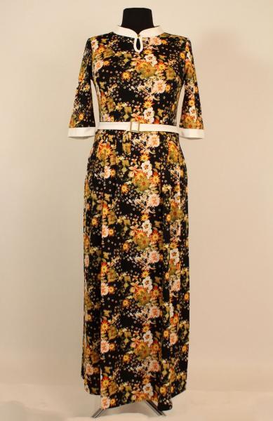Платье длинное в пол с цветочным принтом 44-54 р
