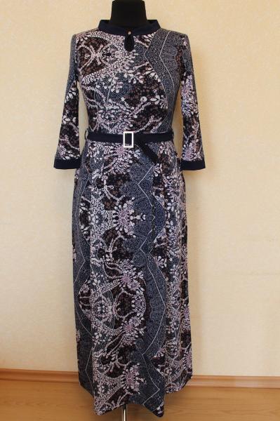 Платье длинное в пол с воротничком и манжетами 44-52 р
