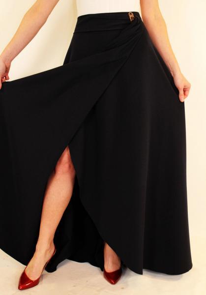 Длинная нарядная юбка с запахом 44-50 р ( темно-синий, оливковый, электрик, коралловый, бирюзовый )