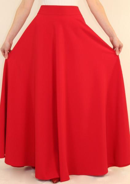 Длинная юбка солнце-клеш весна 44-50 р ( красный, темно-синий, электрик, зеленый )
