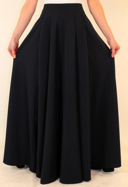 Длинная темно-синяя юбка солнце клеш в пол 44 р