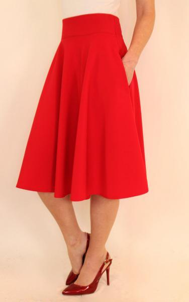 Пышная юбка миди солнце клеш 44-50 р ( красный, оливковый, темно-синий, электрик, зеленый )