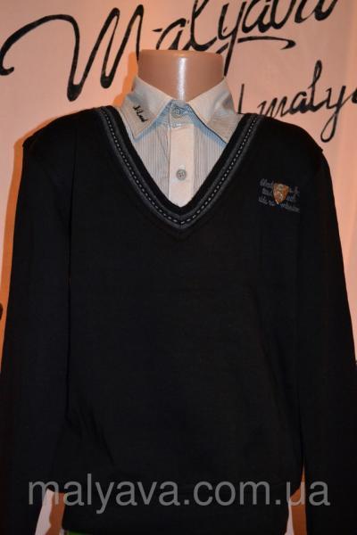 Джемпер-обманка школьный для мальчика от 128 до 164 Blueland