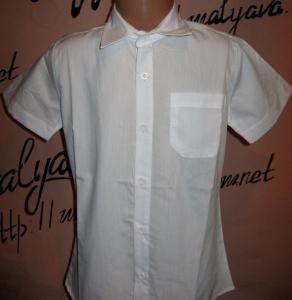 Фото Рубашка с коротким рукавом мальчик Белая рубашка прямая от 110 до 128 Blueland
