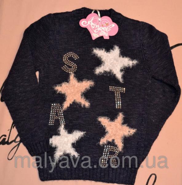 Синий свитер c звездами для девочки от 8 до 14 лет Angel girls