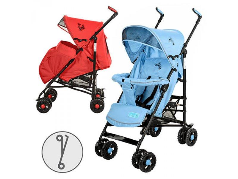 Коляска детская 1109-3-4 (2шт) прогулочная,чехол на ножки,кол 8шт(15см),корз,крас/голуб,108-88-49см