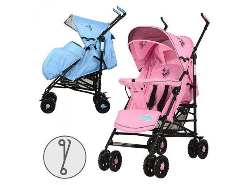 Коляска детская 1109-4-8 (2шт) прогулочная,чехол на ножки,кол 8шт(15см),корзин,роз/голуб,108-88-49см
