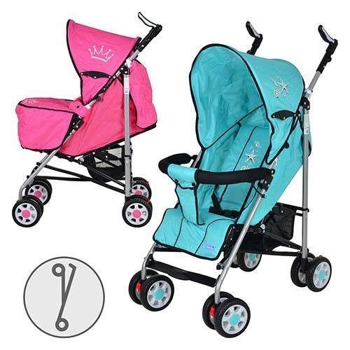 Коляска детская ARIA S1-1 (2шт) прогулочная, 2 цвета (розовая,голуб), колеса 8шт, чехол на ножки,