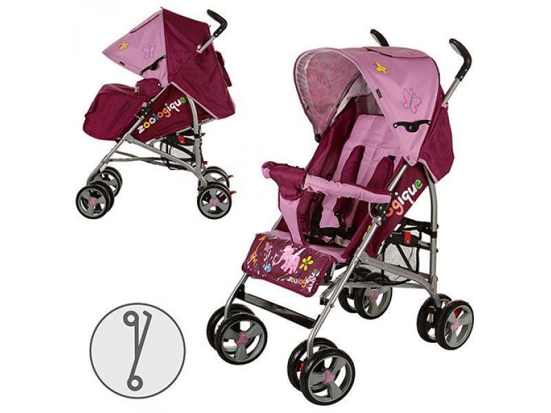 Коляска детская E 1266-8-2 (2шт) прогулочная,трость,козырек,кол 8шт,крас-роз,в кор-ке,97-29-43см
