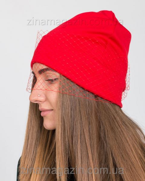 Шапка с вуалью красная