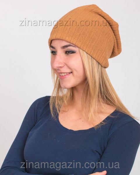 Зимняя шапка чулок беж