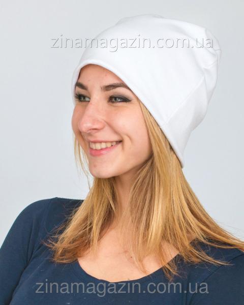 Зимняя шапка чулок белая