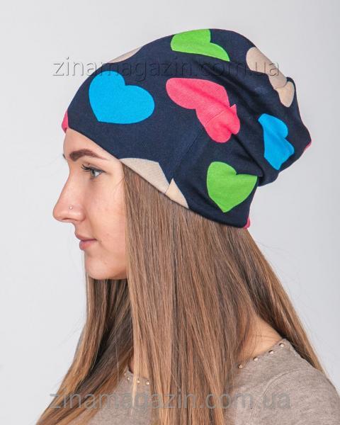 Зимняя шапка чулок Сердце