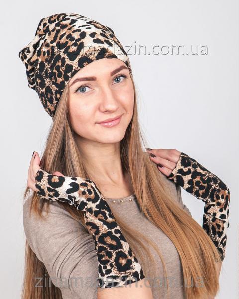 Шапка + нарукавники леопард
