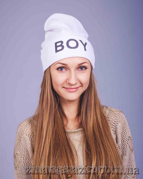 """Шапка с надписью """"BOY"""" (белая)"""