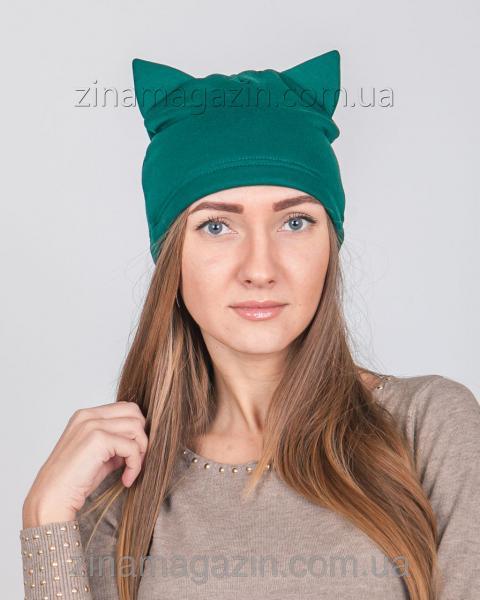 Шапка с ушками темно-зеленая