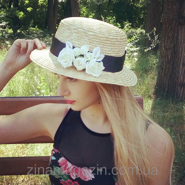Шляпа канотье с цветами