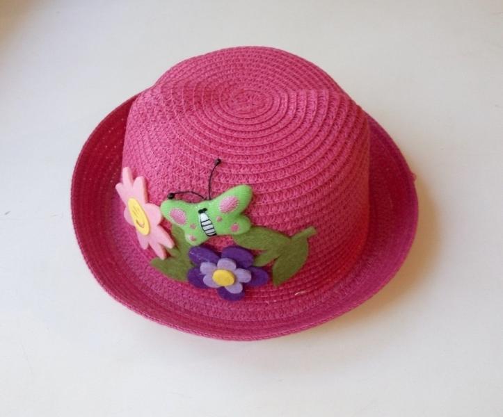 Детская летняя шляпка с ушками и аппликацией (розовая)